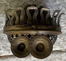 Antique brass duplex no. 3 oil lamp burner marked Apollo Duplex E.M & Co.