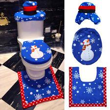 Blue 3 Pcs Happy Santa Toilet Seat Cover Rug Bathroom Set Decoration Christmas