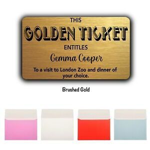 Personalised Golden Ticket Wallet/Purse Gift Card-Custom Gold Card-Any occasion