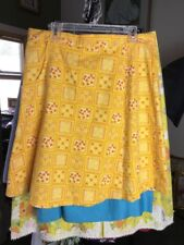 Vintage Yellow Print Culotte Split Skirt 31' Waist Excellent Condition