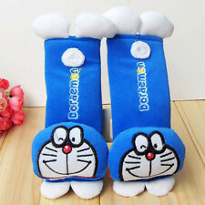 2pcs Doraemon blue cute Car Seat Belt Cover Plush Seat Shoulder Pad Cushion