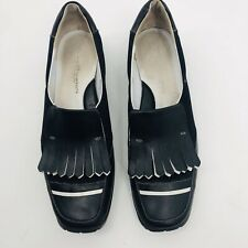 WALTER GENIUN Linea Stretch Pia Black Fringe Women's Golf Shoes Size 9 1/2 $239