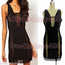 Club Party Dance Summer Wear Mesh Sheer See Through Back Above Knee Dress SMALL