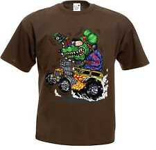 T Shirt braun Hot Rod-,US Car& `50 Stylemotiv Modell Green Monster
