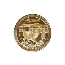Gold plated Chinese zodiac pig anniversary commemorative coins souvenir co vO