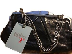 HOBO International Hayley Black Leather Silver Chain Clutch Wallet Purse