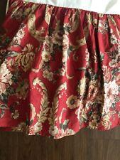 Vintage Ralph Lauren Queen Dust Ruffle Danielle Marseilles Red Floral Bed Skirt