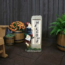 "Sunnydaze Gnome Welcome Outdoor Water Fountain 31"" Water Feature with Led Lights"