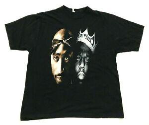 VINTAGE Tupac Biggie Shirt Rap Tee Size 2XL XXL Black Short Sleeve Hip Hop 90's
