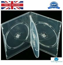 5 X 4 Way Clear DVD 14mm Spine Holds 4 Discs Empty Replacement Case HQ AAA