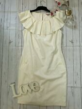 Ted Baker Size 3 UK 12 cream ruffle collar pencil dress smart party catsty dress
