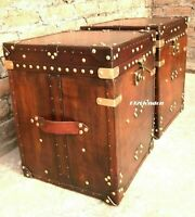 Pair Of Finest English Leather Antique Inspired Side Table Trunks Halloween ZA09