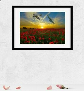 Spitfire Print Poppy rememberance day Supermarine Picture Photo Poster Size A4