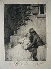 Belle GRAVURE Ancienne HENRY TATTEGRAIN Scène Galante Jeanne PHILIPPAR-QUINET #2