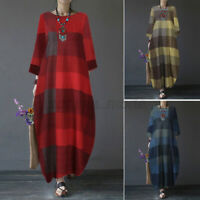 Womens Oversized Long Sleeve Check Dress Casual Loose Baggy Kaftan Maxi Dresses