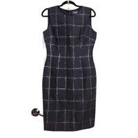 St John Couture Womens Dress Caviar Metallic Black Silver Window Pane Sheath 4 S