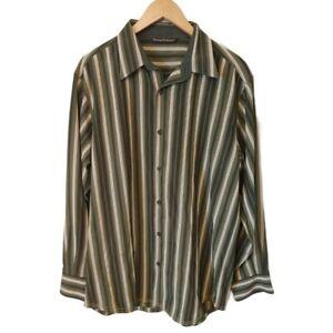 NWOT Tommy Bahama Men's Long Sleeve Silk Wool Blend Green Stripe Button Medium