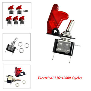 5Pcs Red LED Rocker Toggle Switch SPST ON/OFF Car Truck Boat  easily installed