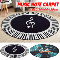 Round Carpet Music Symbol Piano Key Black White Non-Slip Home Bedroom Mat Floo