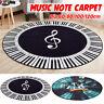 Round Carpet Music Symbol Piano Key Black White Non-Slip Home Bedroom Ma
