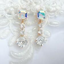 Square Aurora Borealis Diamond Earrings With CRYSTALLIZED™ Swarovski Elements