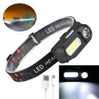 USB Rechargeable 6 Modes COB LED Headlamp Headlight Head Light Torch Flashlight
