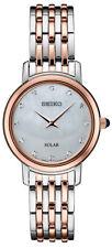 Seiko Mujer Cuarzo Reloj de diamantes de dos tonos de acero inoxidable SUP408