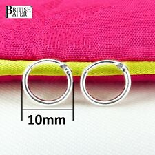 10mm Small Solid 925 Sterling Silver Hoop Sleeper Earrings Nose Rings Studs Clip