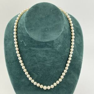 Vintage Solid Silver Mounted Graduated 5mm - 8mm Cultured Pearl Necklace 52cm
