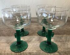 Set of 4 Libbey Cozumel Margarita Glass Set Green Cactus Stem 12 oz. NIB