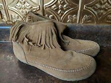 Makalu Short Leather Suede Boots Sz. 9 Canyon Fringe Moccasins
