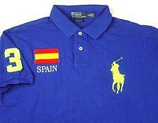 Polo Ralph Lauren Spain Blue Polo Golf Shirt Custom Fit #3 Sz XL Big Pony EUC