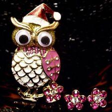 Betsey Johnson RARE Pin Earrings Set GOOGLY EYES OWL Broach CRYSTAL FLOWER STUD