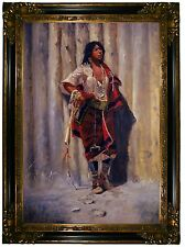 CM Russell Indian Maid at Stockade -Gold & Black Framed Canvas Print Repro 24x33