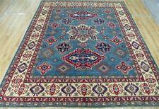 Kazak New Finest Tribal hand knotted wool Blue Geometric area rug 8'x10'