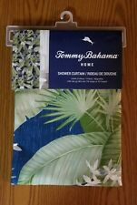 TOMMY BAHAMA PALMS TROPICAL SHOWER CURTIAN  White Flowers & Blue Back Ground NEW