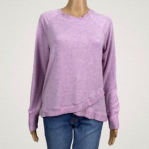 Active Life Lilac Purple Cross Over Envelope Hem Pullover Sweatshirt Top MEDIUM