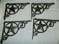 "Set/4 Cast Iron Western Star Shelf Support Bracket Plante ( 9"" Long)"