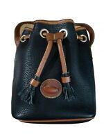 Dooney and bourke navy blue pebbled leather  crossbody pull string handbag