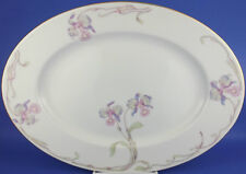 "Bohemia Ceramic Works Czechoslovakia Orchid Iris 15"" Oval Serving Platter"