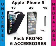 Apple iPhone 5 - Pack PROMO 6 accessoires - Housse à clapet Noir, film, stylet