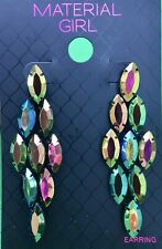 Material Girl Earrings Oval Bead Colorful Sparkle Dangle BNWT