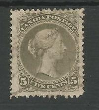 CANADA SG63a THE SCARCE 1875 QV 5c OLIVE GREEN PERF 12 ,SMALL TEAR BUT CAT £800