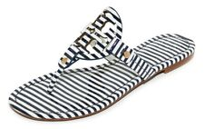 ebbf40a48abb NEW  198 TORY BURCH 7 Miller Striped Patent Leather T-Logo Flat SHOES  SANDALS