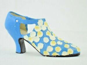 "Miniature 4.5"" Blue Floral Kitten Heeled Mid-Heel - Resin Collectible Figure"