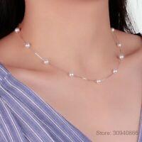 925 Silber 12 Stück 6 mm Perle Kette Choker Halskette Damen edel Schmuck Frauen.