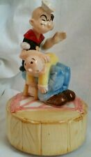 Vintage Vandor Popeye The Sailor Man Spanking Swee Pea Turning Music Box 1980☆