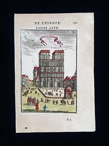 1683 A.M. MALLET: FRANCE, rare VIEW of the CATHEDRAL of NOTRE-DAME de PARIS...