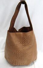 Bottega Veneta Leather Hobo Bag Weave Design Tan Brown Single Strap Suede Lining