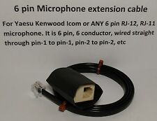MICROPHONE EXTENSION CABLE 6 PIN RJ12 RJ-12 MODULAR YAESU ICOM KENWOOD 3 feet